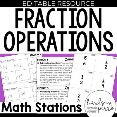 5th Grade Fraction Operation Stations