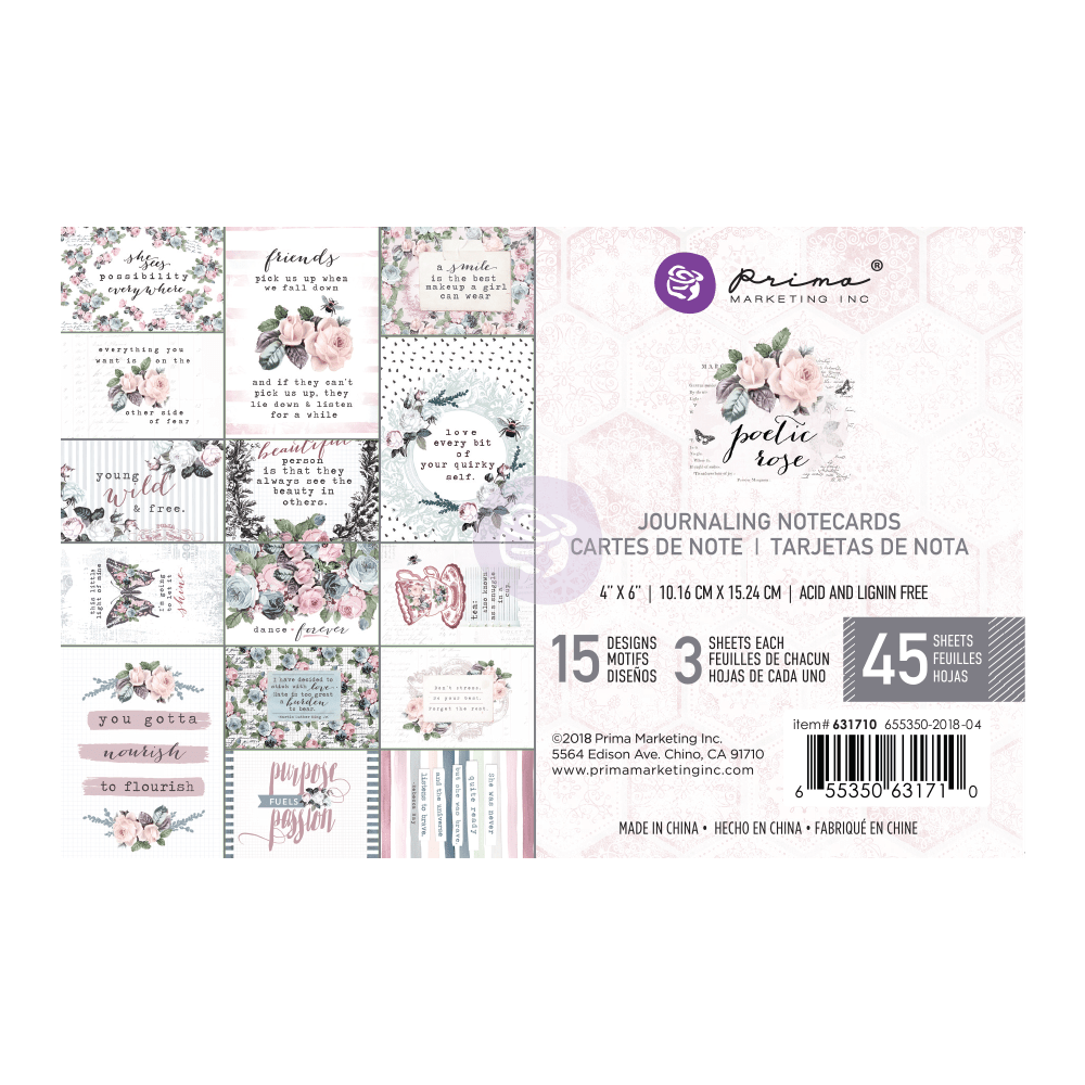 Poetic Rose 4x6 Journal Cards 16-030