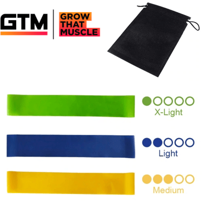 Set of 3 Resistance Bands Latex Gym Strength Training Extra Light, Light, Medium