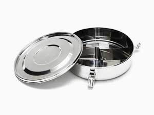 Tiffin stainless steel box with removable dividers