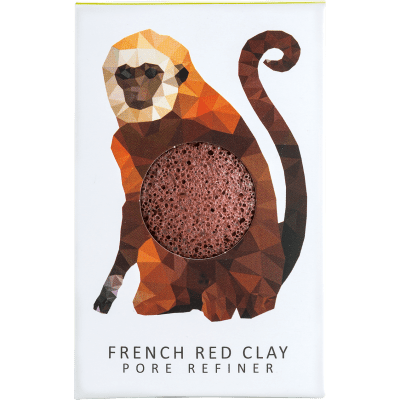 KONJAC MINI PORE REFINER RAINFOREST MONKEY FRENCH RED CLAY