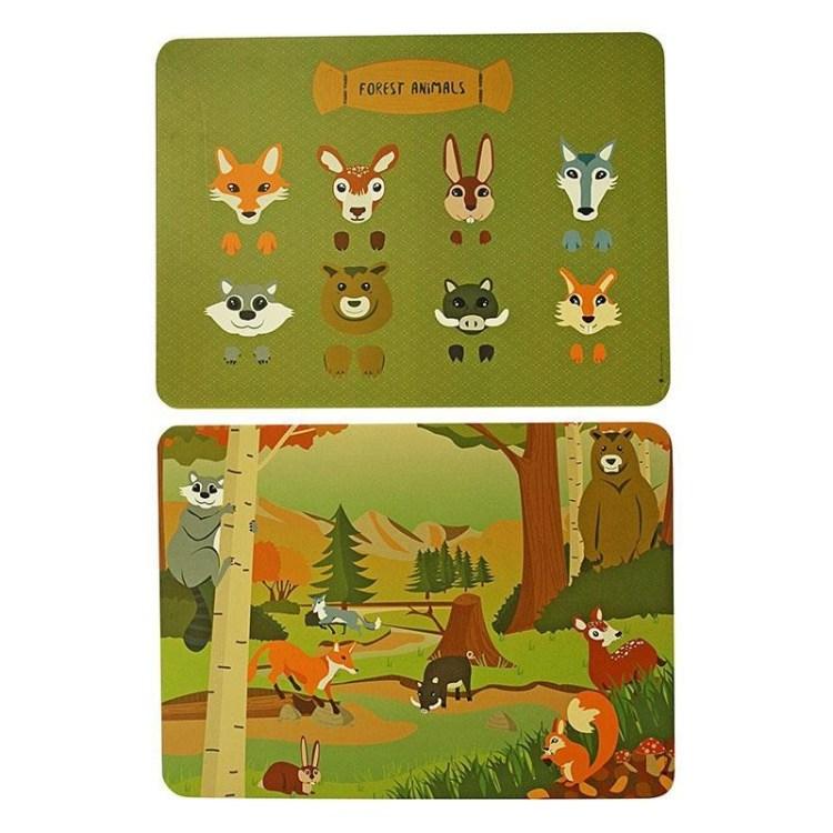 Placemat Forest Animals mix set