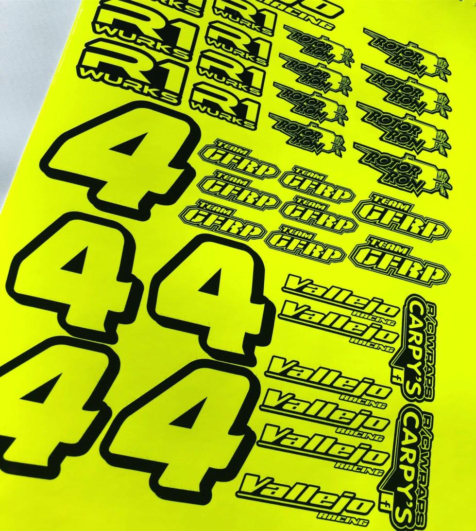 Fluorescent Sponsor Decal Sheet