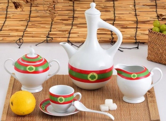 Ethiopian Coffee Cups and Jebena Set   Oromia Culture   23 Pcs 00057