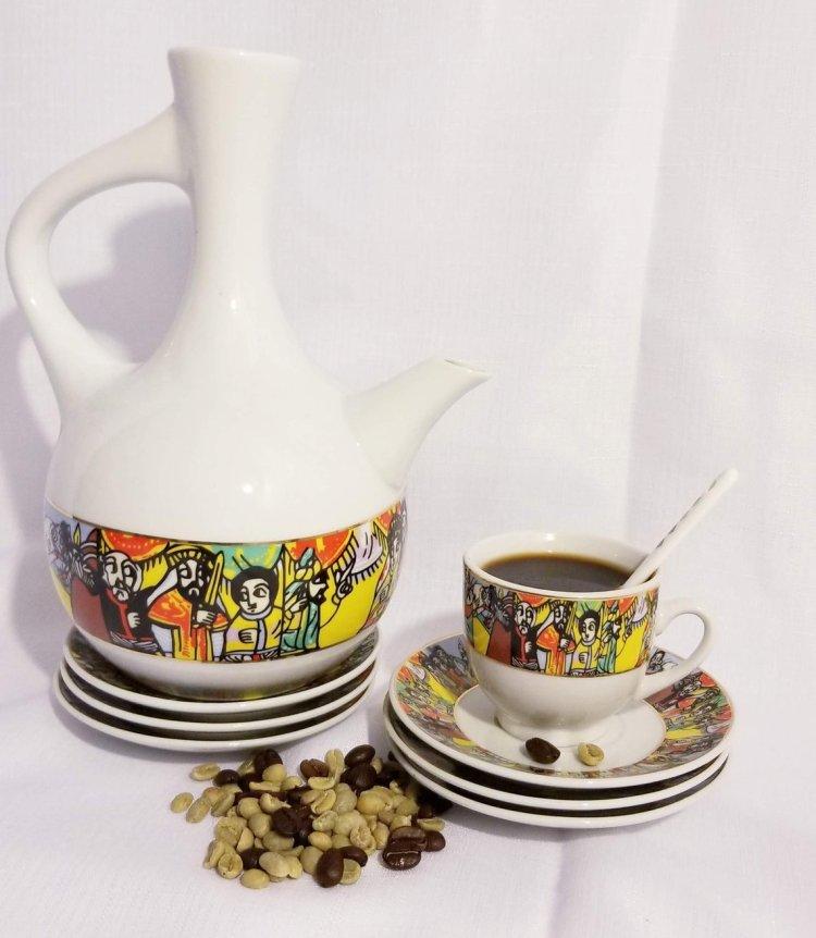 Ethiopian/Eritrean Coffee Ceremony Set, QUEEN OF SHEBA Edition. Full set, 22 Pcs 00055