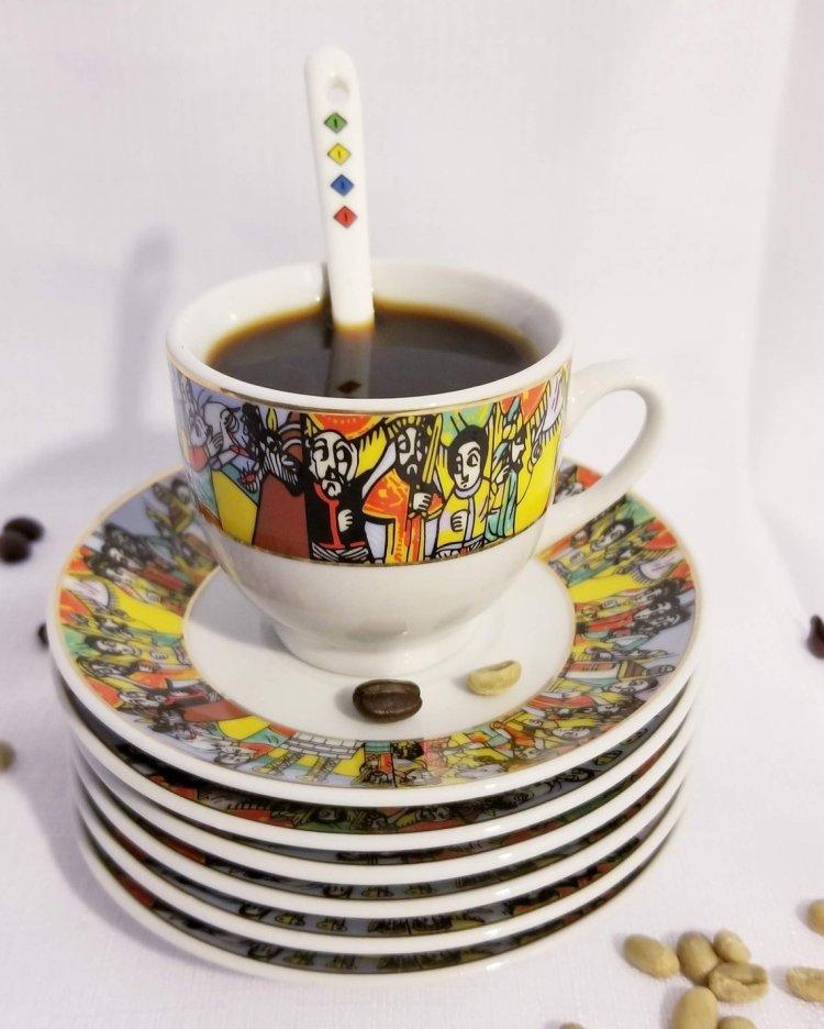 Ethiopian/Eritrean Coffee Ceremony Set, QUEEN OF SHEBA Edition. Full set, 22 Pcs
