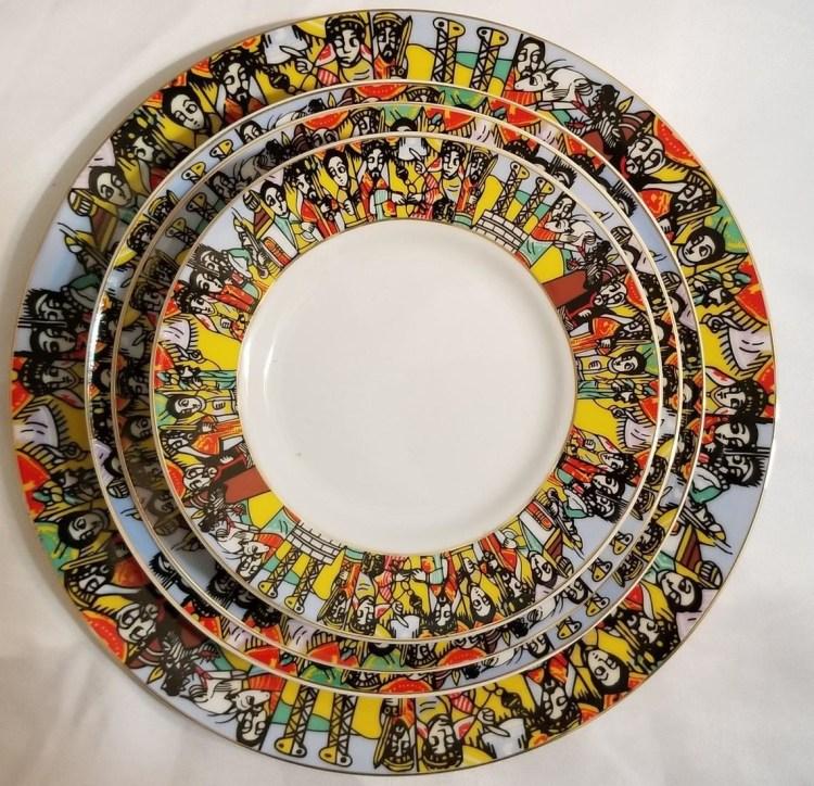 Ethiopian/Eritrean Dinner Plate Set- Queen Sheba Design / (ንግስተ ፡ ሳባ) 20 PCS