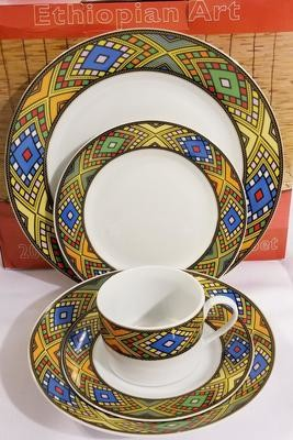 Ethiopian / Eritrean Dinner Plate Set የምግብ ሳህን , Tílét (ጥለት) Edition 20 Pieces