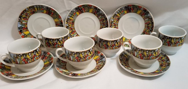 Ethiopian Traditional Coffee Cups - Traditional Design - 6 Caps and 6 Saucers 12 PCS   Queen of Sheba