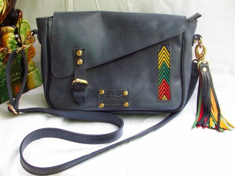 Blue Leather Messenger Bag