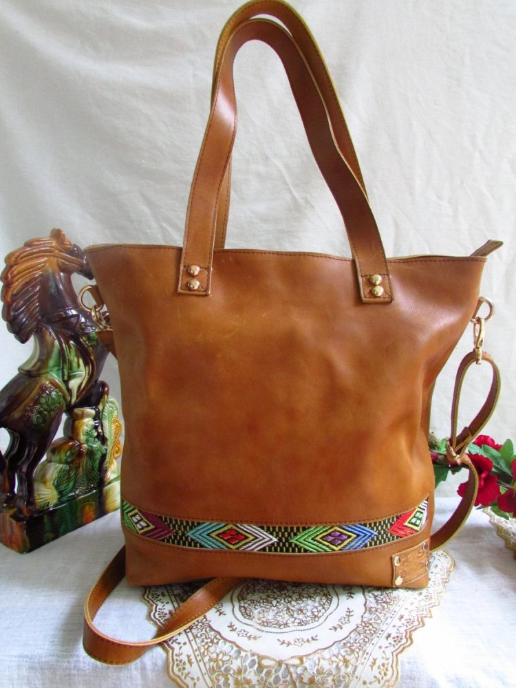Brown leather handbag for women 00108