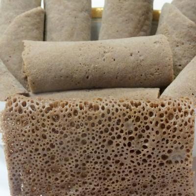 እንጀራ Brown Teff Injera (flat) Bread - Gluten Free