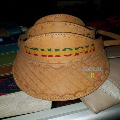 ኢትዮጲያ የሚል ጽሑፍ ያለበት የቆዳ ኮፍያ  Ethiopia Leather half Hat
