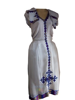 አጓጉል የሀበሻ ቀሚስ  Ethiopian Traditional Midi Dress