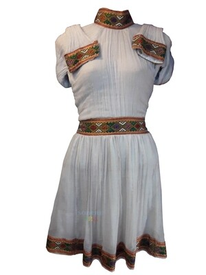 የሀበሻ ቀሚስ  Ethiopian Traditional Short Dress