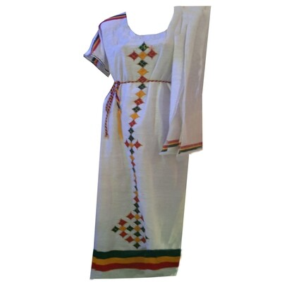 ረዘም ያለ የሀበሻ ልብስ  Ethiopian Traditional Long Dress / free size