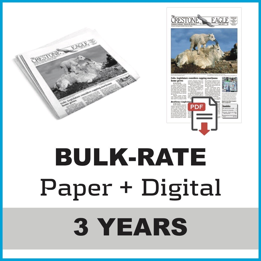 Crestone Eagle News - 3 Year Paper + Digital Subscription