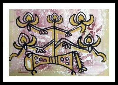 Sohrai Painting - Bull 1 (22x15 in)