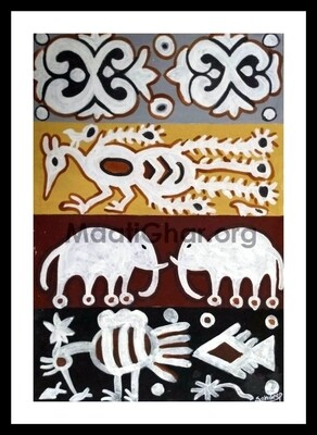 Sohrai Painting - Animals and Flower (22x15 in)