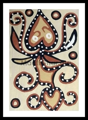 Sohrai Painting - Peepal Leaves (22x15 in)