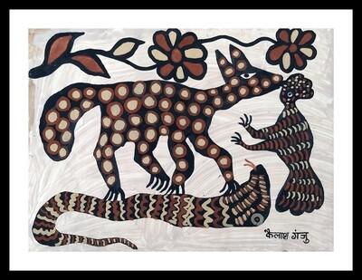 Sohrai Painting - Leopard (30x22 in)