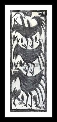Khovar Painting - Birds 1 (15x5.5 in)