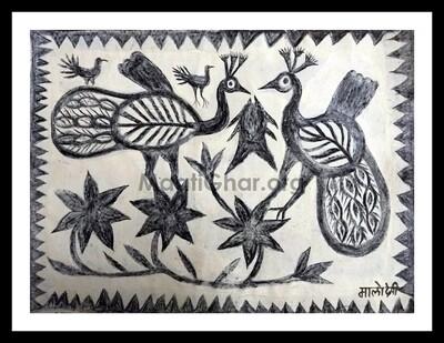 Khovar Painting - Peacocks (30x22 in)
