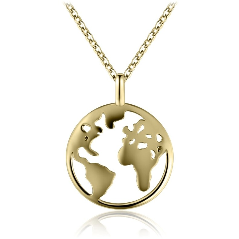 Sterling Silver Globetrotter Necklace Covered with 18-karat Yellow Gold
