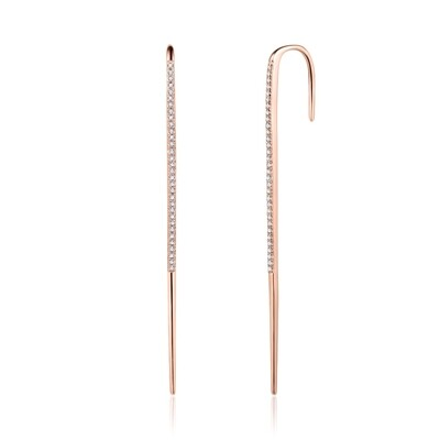 Sterling Silver Ear Pin with Cubic Zirconia Covered with 18-karat Rose Gold