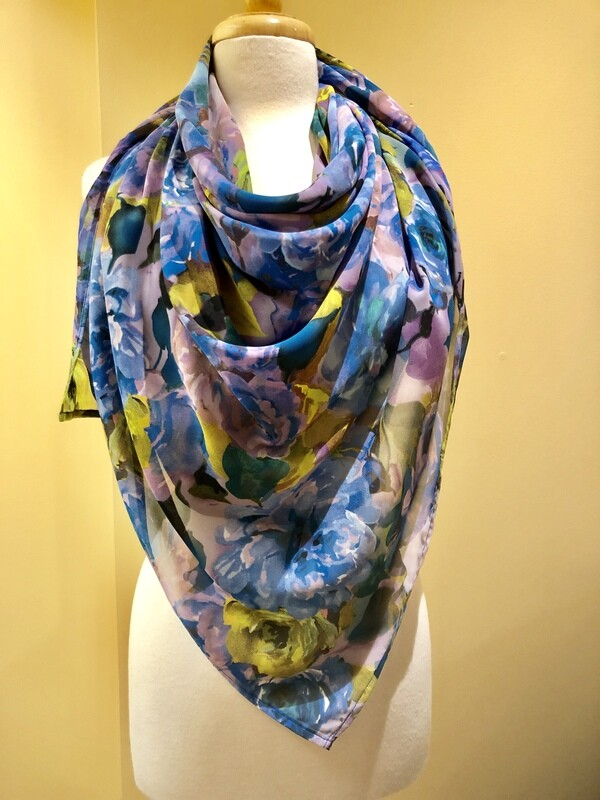 Blue Rose Chiffon Square Scarf