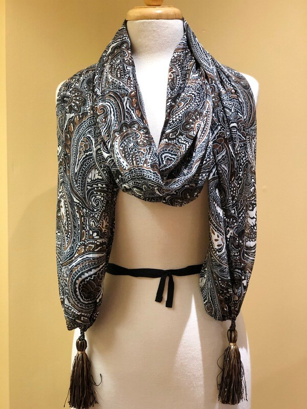 Classic Paisley Long Scarf with Tassels