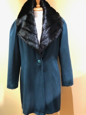 Teal + Hunter Green Coat with Faux Fur Mink Collar