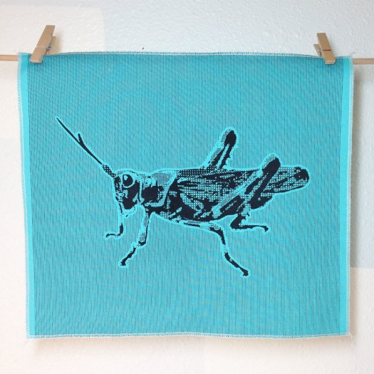 Grasshopper - Hand Printed Fabric Panel