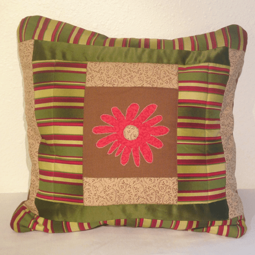 Flower Appliqué Quilted Pillow Cover HM0014