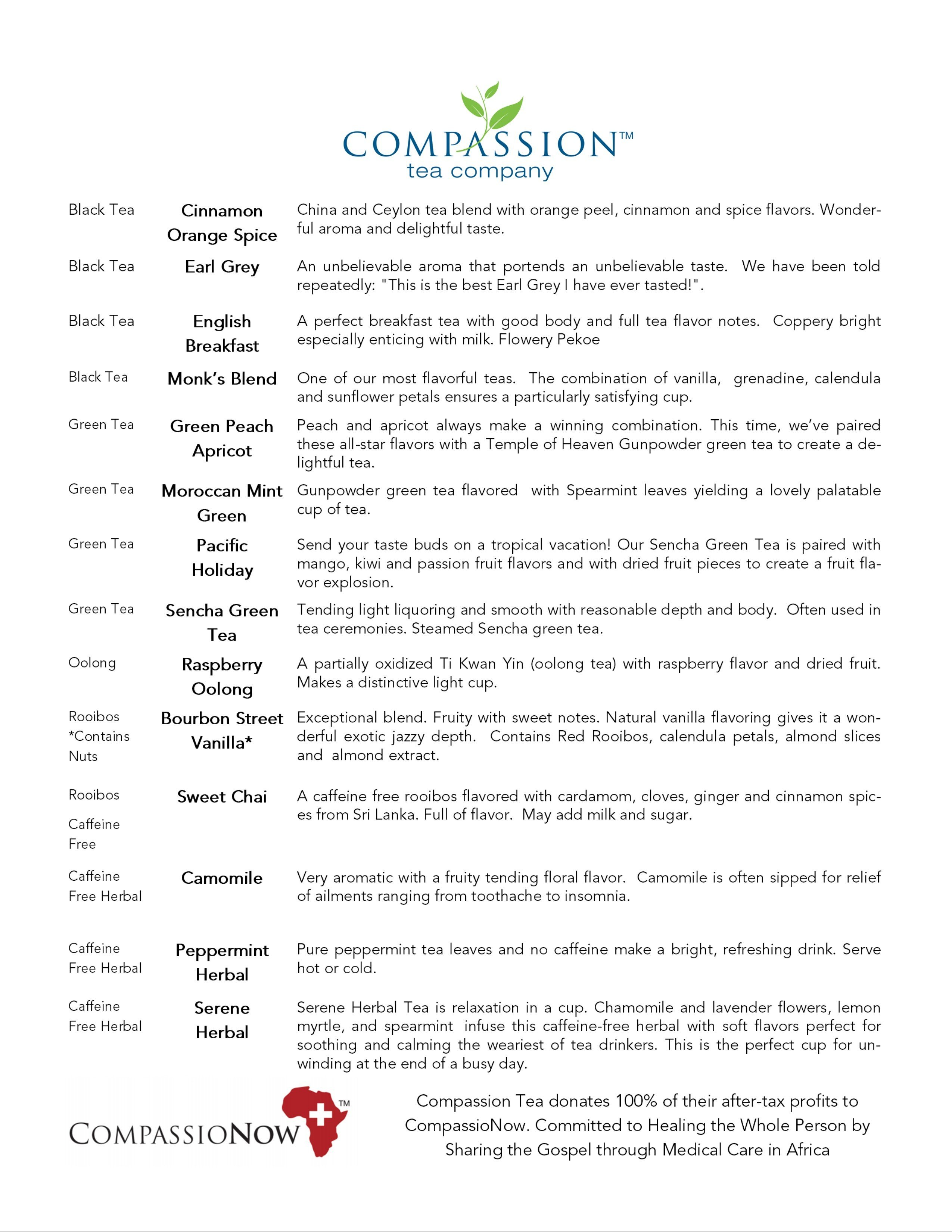 Types of Tea with Compassion Tea