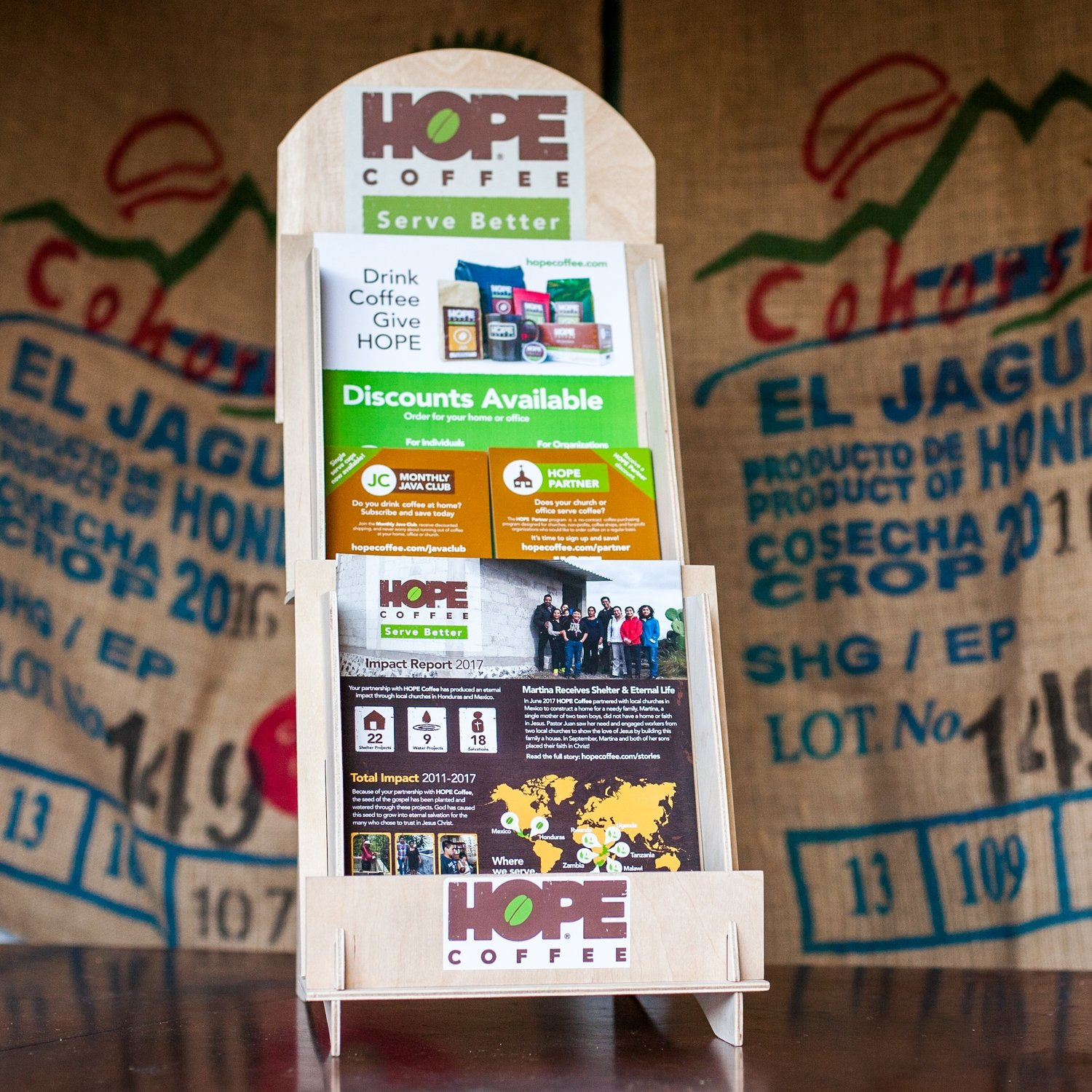 For HOPE Partners: Free HOPE Coffee Display with informational materials