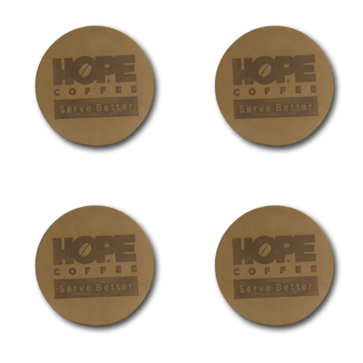 Leather HOPE Coffee Coasters - Set of 4