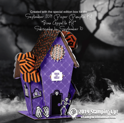 "September 2019 Paper Pumpkin Kit ""Bone Appetit"" Kit & haunted house template"