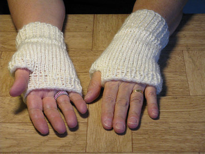 Knit White Fingerless Handwarmers - medium