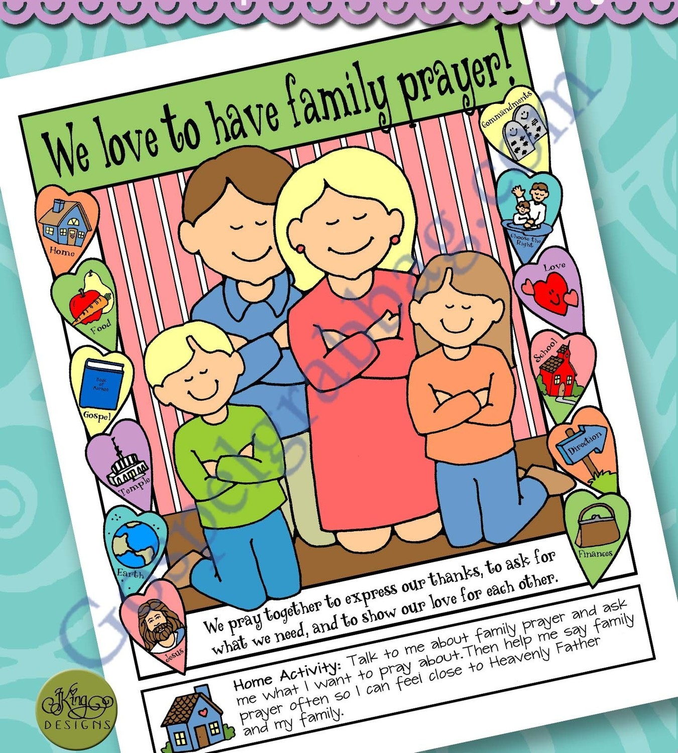 We Love Family Prayer Poster Or Coloring Page