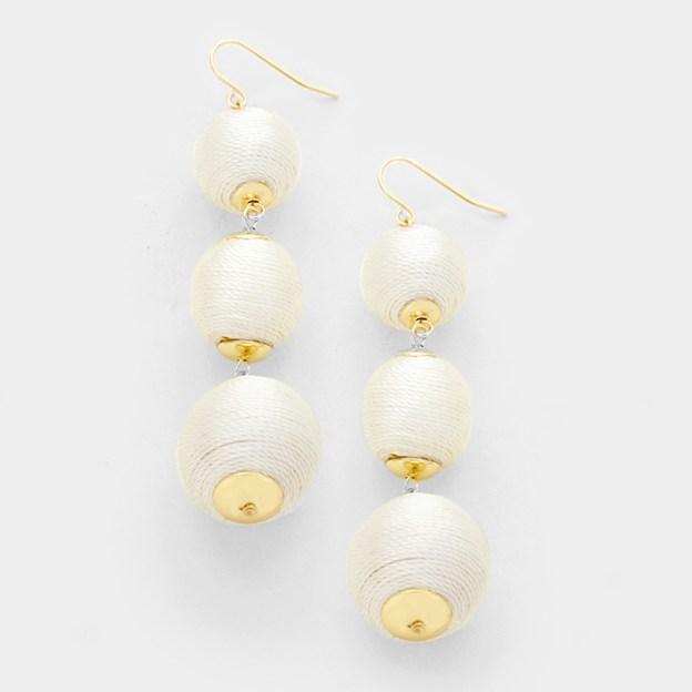Triple Crown Thread Ball Earrings - White - Slightly irregular WT-344574