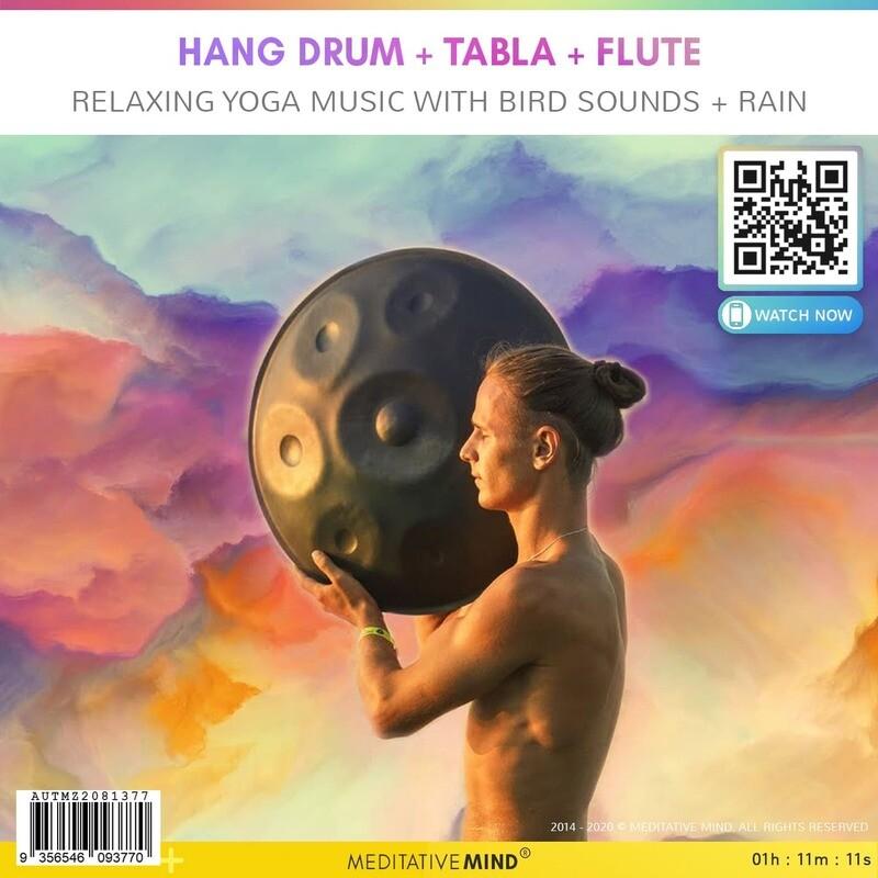 Hang Drum + Tabla + Flute - Relaxing Yoga Music with Bird Sounds + Rain