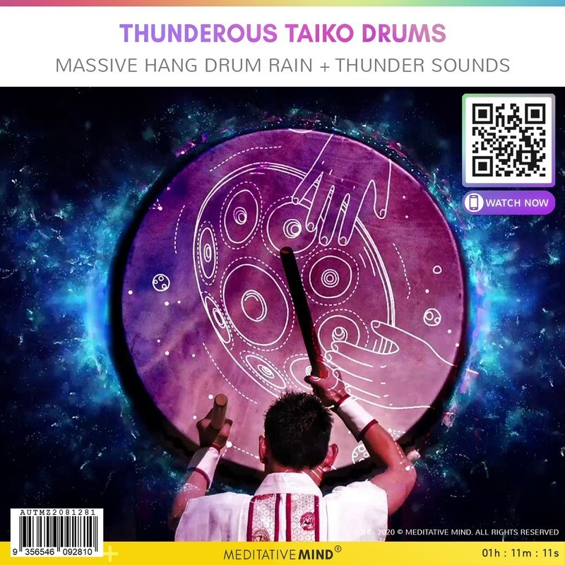 THUNDEROUS TAIKO DRUMS - Massive Hang Drum Rain + Thunder Sounds