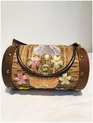 Vintage Straw Barrel Basket Handbag