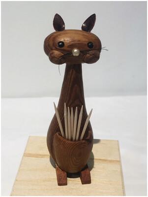 Mid Century Wood Kitty Toothpick Holder