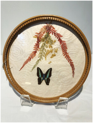 1970's Vintage Butterfly and Dried Flower Bamboo Serving Tray