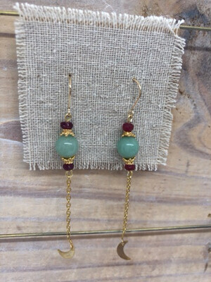 Handmade 14kt Gold Filled French Wire with Chalcedony & Rubies with Half Moons