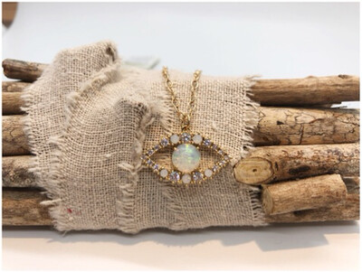 14kt Gold Chain with Opal & Crystal Evil Eye