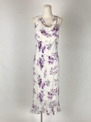 90's Cowl Neck Floral Print Sun Dress