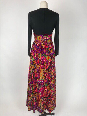 70's Long Sleeve Empire Psychedelic Print Maxi Dress